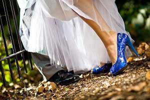 Something blue in de vorm van blauwe bruidsschoenen