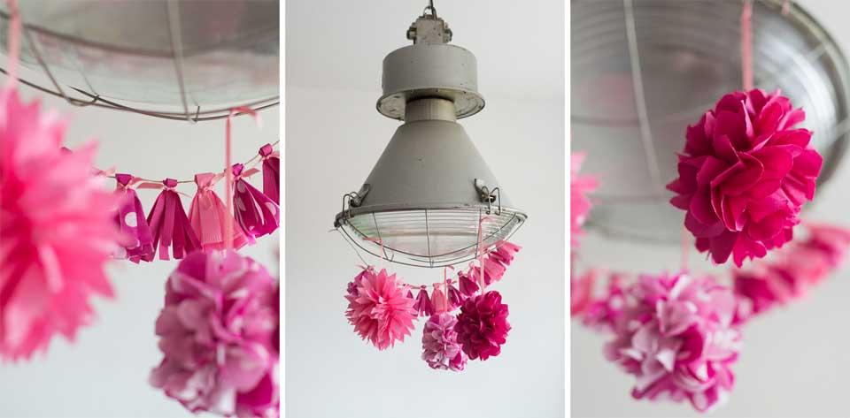 Diy kleurrijke pom poms bruiloft inspiratie for Bruiloft decoratie zelf maken