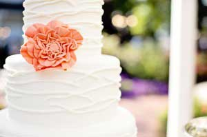 Witte bruidstaart met bloem
