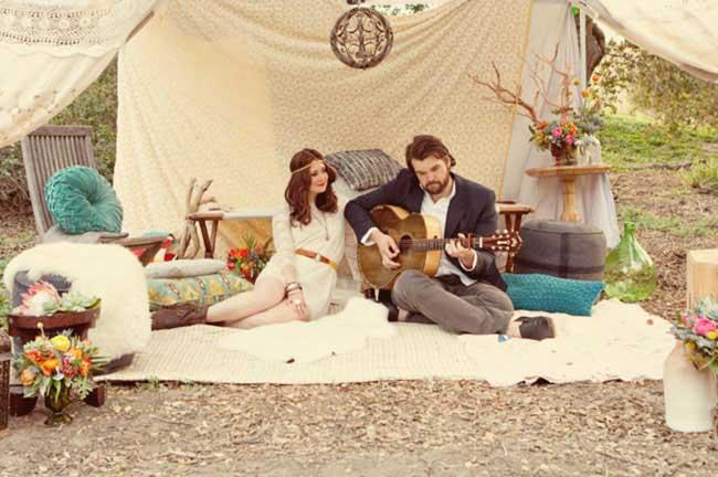 Bohemian bruiloft met gitaar