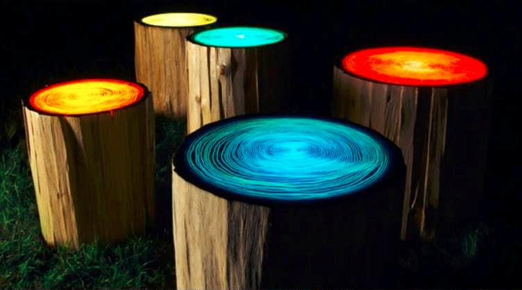Diy decoratie lichtgevende boomstammen bruiloft inspiratie - Outdoor tuin decoratie ideeen ...