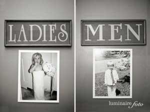 Toiletten met foto´s van de bruid en bruidegom als kleine kinderen