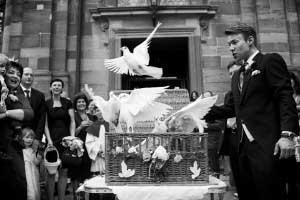 Duiven loslaten op bruiloft