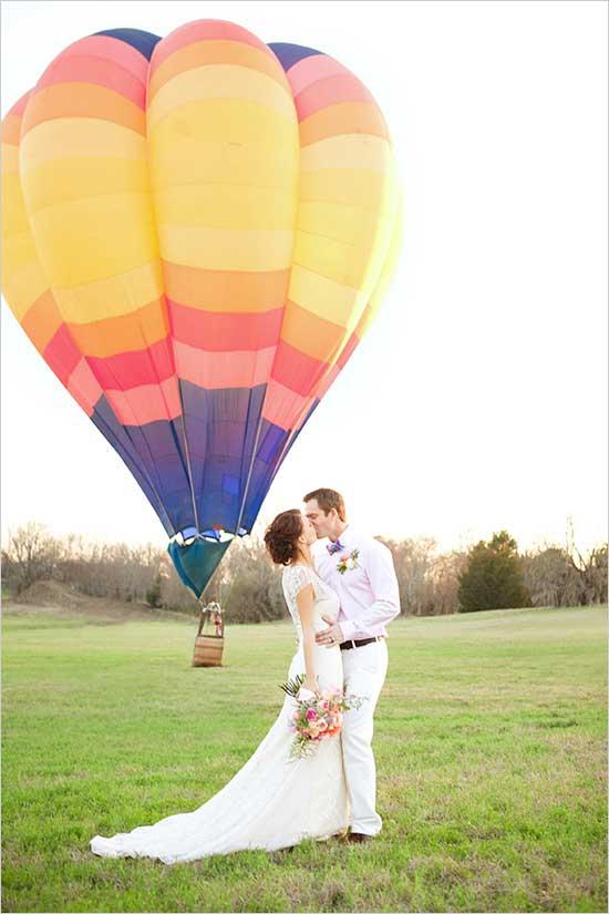 Luchtballon als trouwvervoer