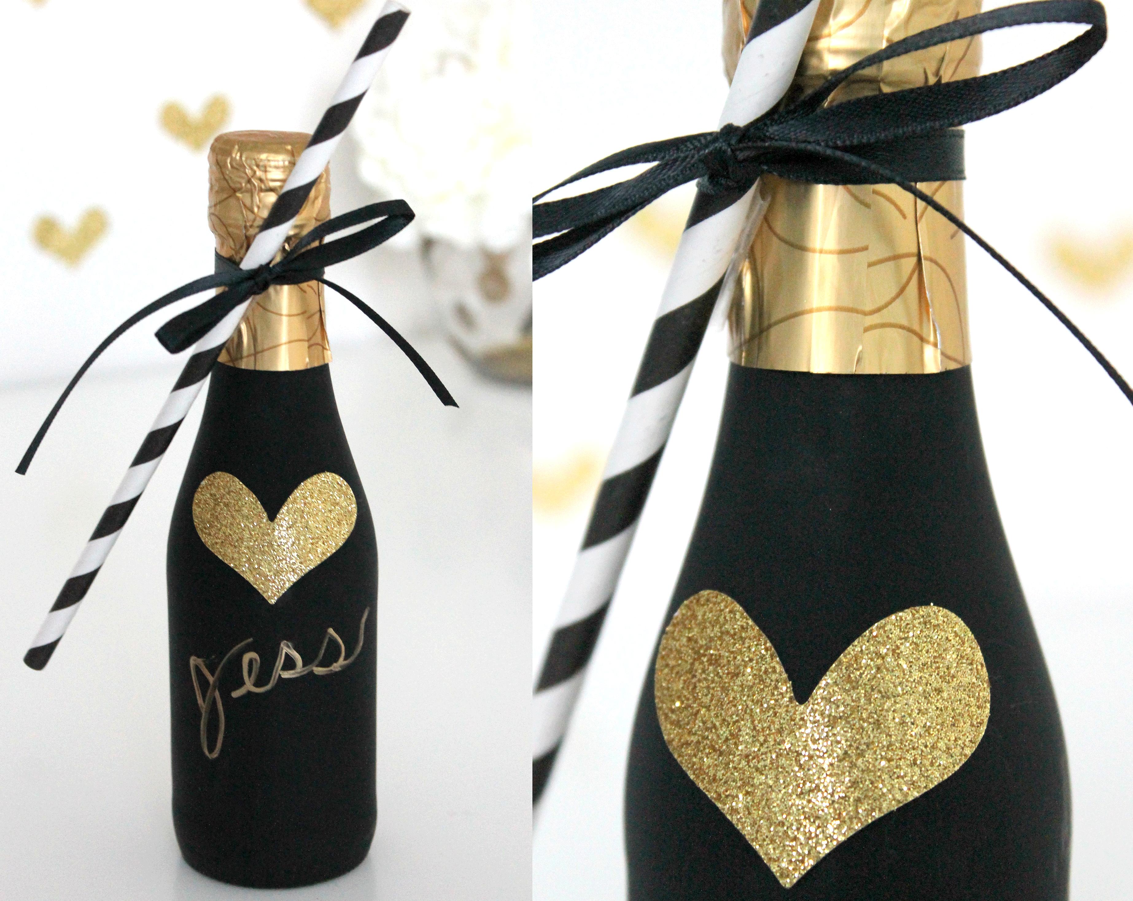 Mini champagne flesjes als gastenbedankje