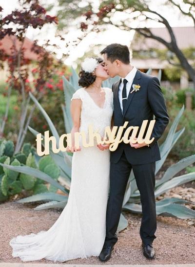 Bedankfoto bruiloft