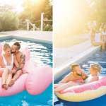 Pool party met bruid en bruidegom in het zwembad