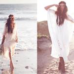 Bohemian bruid op het strand
