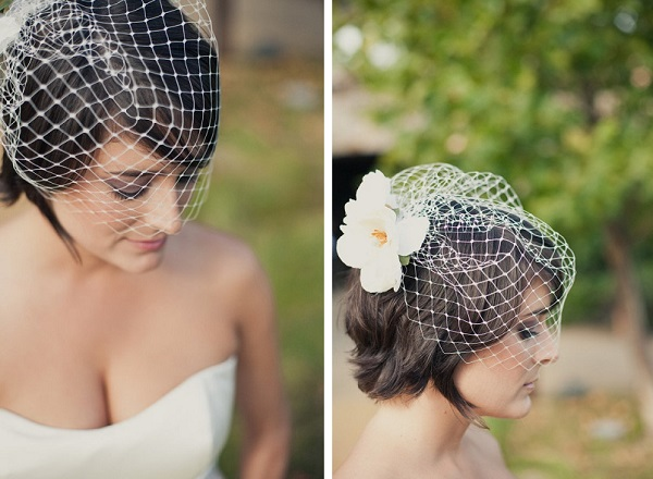 Bruid met birdcage veil