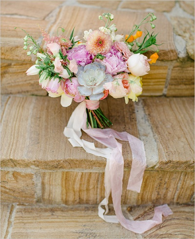 Bruidsboeket met vetplantje