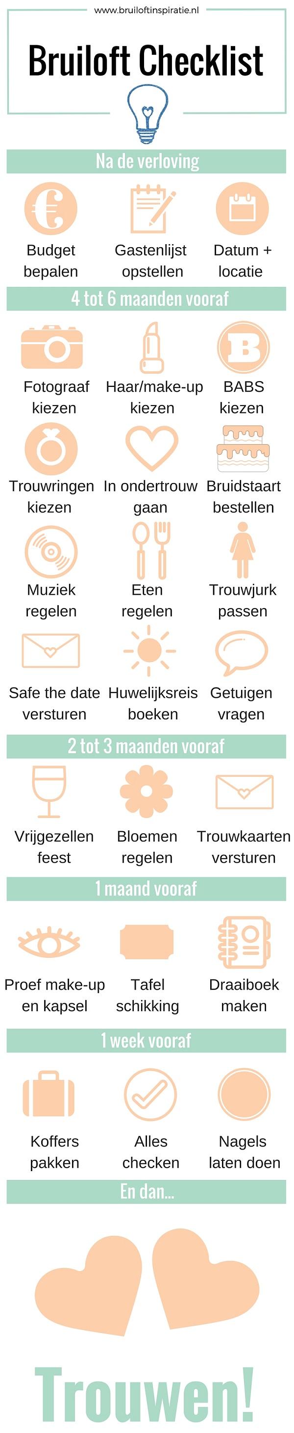 checklist bruiloft regelen