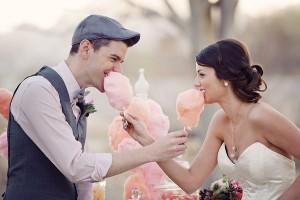 Bruidspaar met suikerspin
