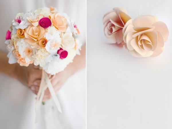 Papieren bruidsboeket