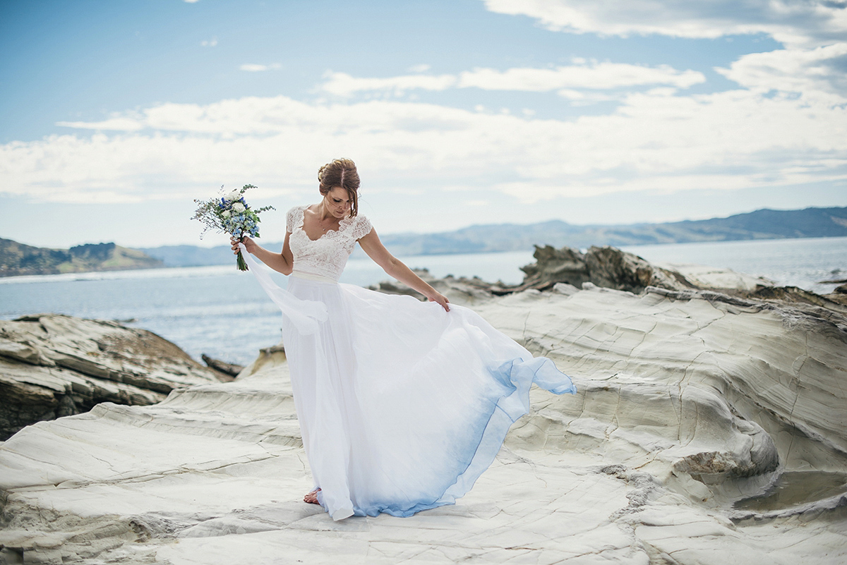 Ombre trouwjurk met blauwe onderkant