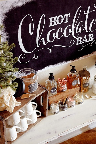 Warme chocolademelk bar winter bruiloft