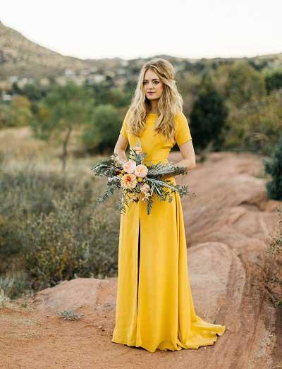 Gele trouwjurken bruid