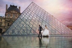 Trouwfoto Parijs Louvre