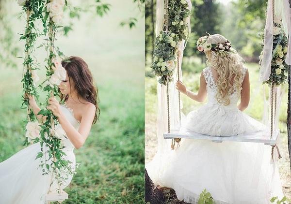 Twee keer bruid op schommel