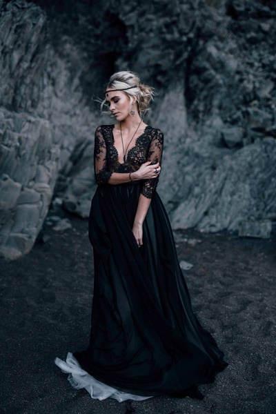 zwart trouwkleed