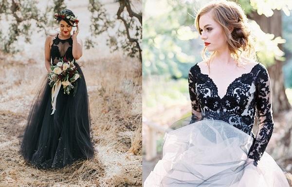2 x Bruid met zwarte trouwjurk