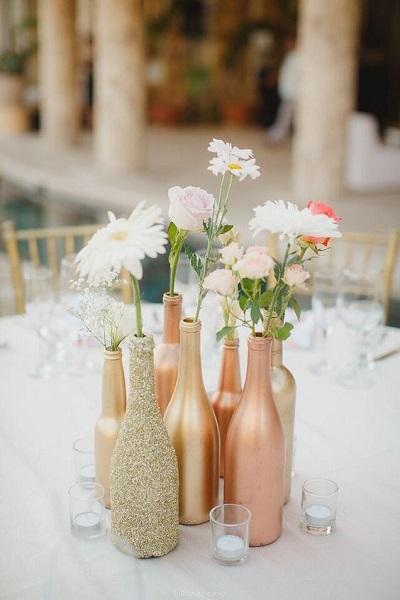 DIY bruiloft vaasjes