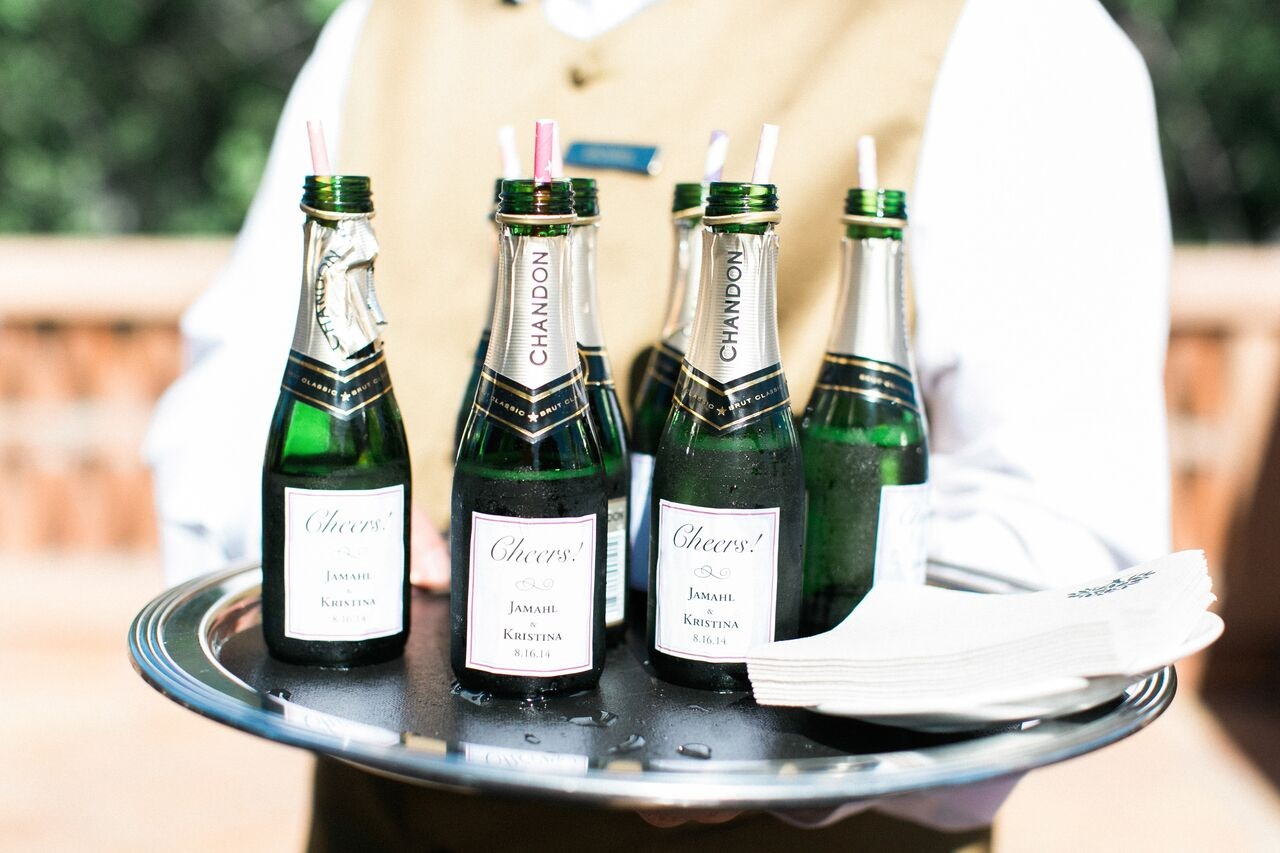 Mini champagne op dienblad