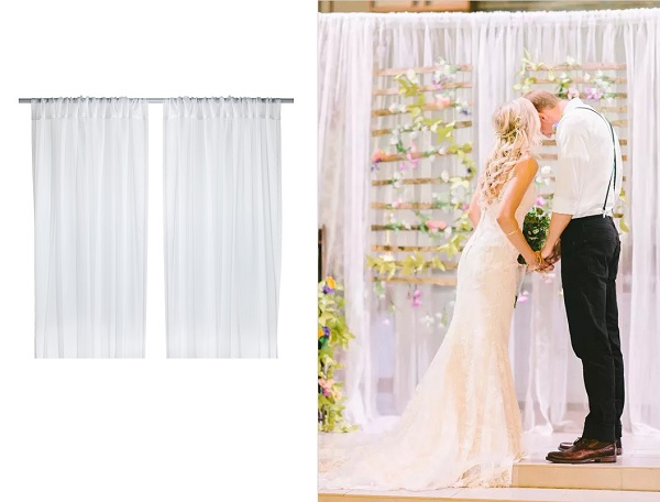 Bruiloft backdrop van vitrage