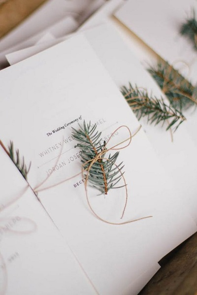 Winter bruiloft programmaboekjes