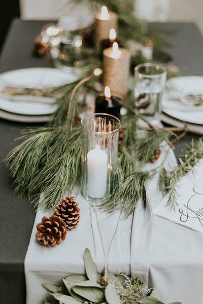 Winter bruiloft tafel decoratie