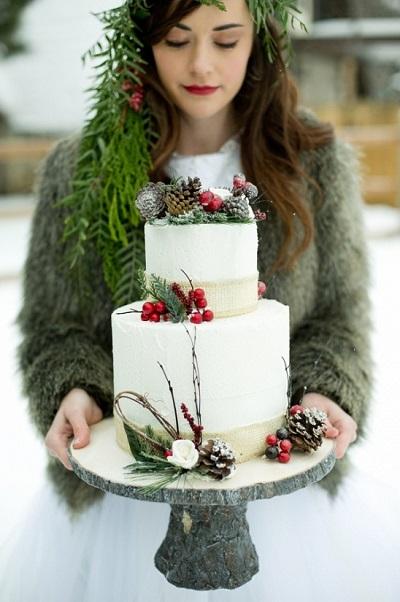 Winter bruiloft bruidstaart