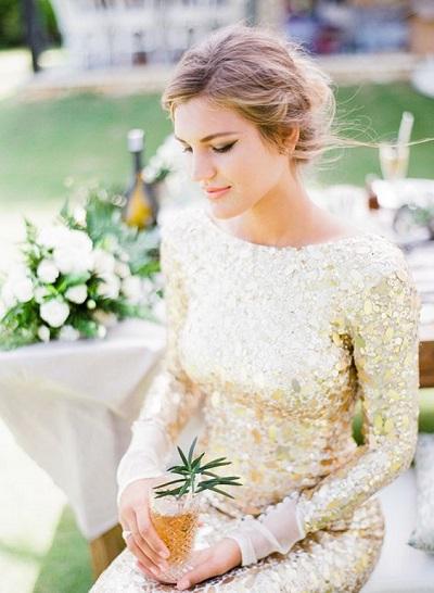 gouden trouwjurk
