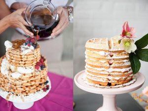 Bruidstaarten gemaakt van wafels