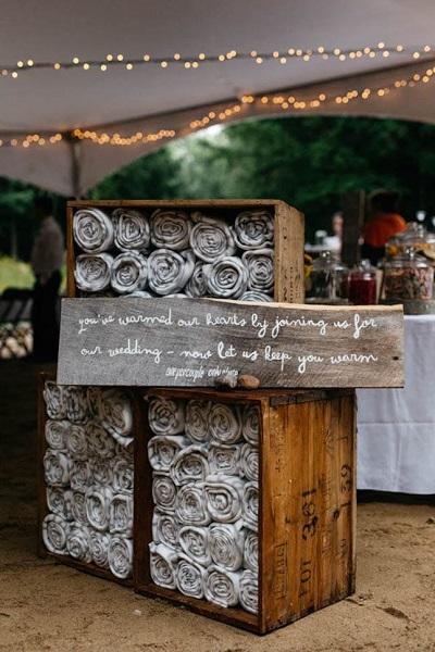 Winter bruiloft dekentjes voor de gasten