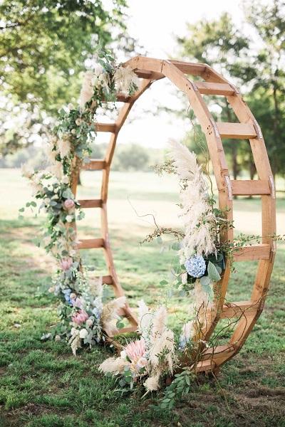 Cirkel met bloemen als backdrop