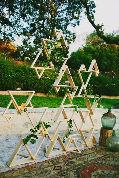 Geometrische bruiloft backdrop