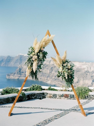 Backdrop tijdens bruiloft op Santorini