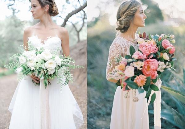 Bruid met wit bruidsboeket en bruid met gekleurd bruidsboeket