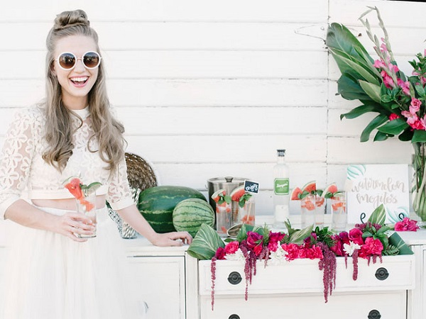Zomerse bruiloft met watermeloen
