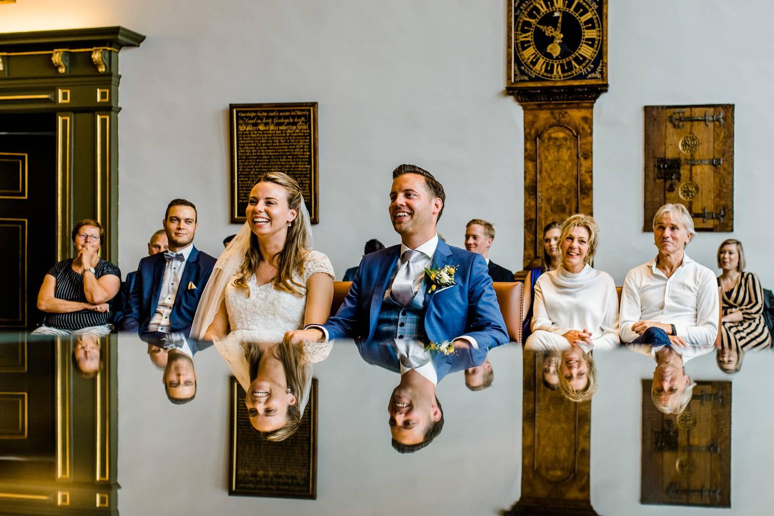 Bruidspaar tijdens de trouwceremonie